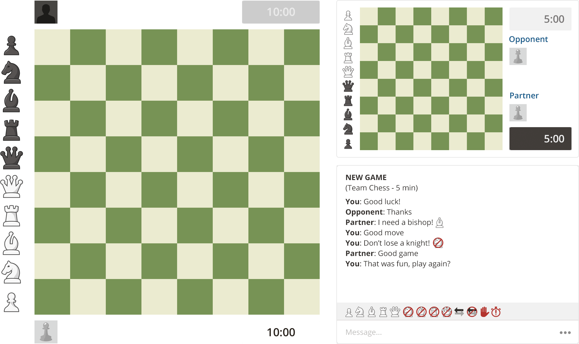 Chess online against live players
